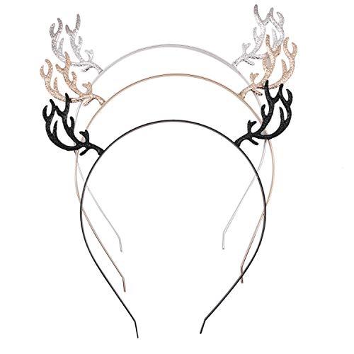 - JETEHO 3 Pieces Glitter Reindeer Antler Headbands for Girls Women, Fawn Horn Headdress Party Headband Christmas Cosplay Costume Handmade Hair Accessories
