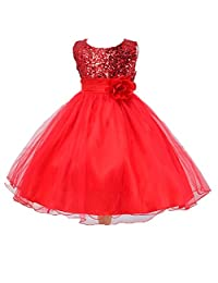 ADHS Kids Baby Girl Formal Occasion Wedding Gowns Flower Squein Dresses