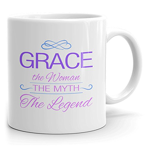 Grace Coffee Mugs - The Woman The Myth The Legend - Best Gifts for Women - 11oz White Mug - Purple