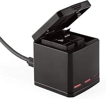 TELESIN Caja de almacenamiento de batería y cargador triple para GoPro Hero 6 GoPro Hero 5,3 Channel Caja de batería de baterías y organizador para ...
