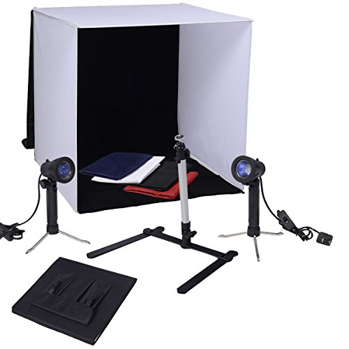 Safstar Portable 24'' x 24'' x 24'' Photo Shooting Tent Box Table Top LED Studio Lighting Kit Cube with Camera Stand and 4 Colored Backgrounds for Product Photography by S AFSTAR