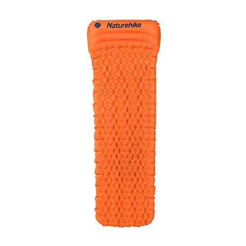 UL Naturehike Inflatable Sleeping Air Cushion Camping Moisture Proof Mat Mattress Pad With Pillow (Orange)