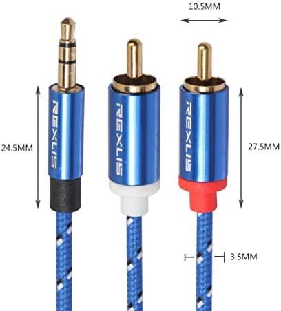 耐久性と軽量の 高品質。 10メートル、小型、軽量で持ち運びが簡単:RCA入力インタフェースのアクティブスピーカー、長さのためにデュアルRCA金メッキプラグブルーコットン編みこみのオーディオケーブルの3610 3.5ミリメートル男性