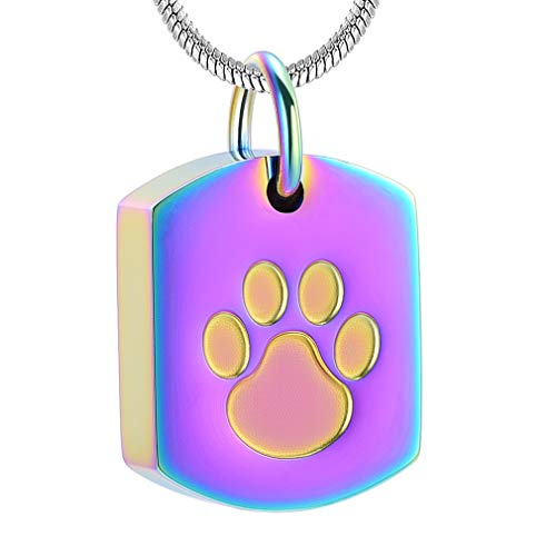 Paw Print Cremation Jewelry for Ashes Human Ashes Holder Memorial Keepsake Jewelry for Pet's/cat/Dog's Ashes ()