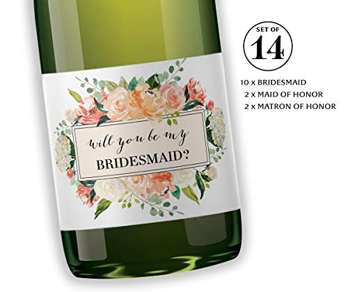 """● SET of 14 ● Be My Bridesmaid Mini Champagne Labels, Bridesmaid Proposal, Maid of Honor ASK, Wedding Favors Wedding Party Proposal Labels for Mini Champagne Bottles 3.5"""" x 2"""" WEATHERPROOF M612-ASK-14"""