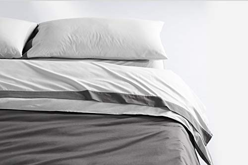 Casper Sleep Soft and Durable Supima Cotton Sheet Set, Queen, White/Slate