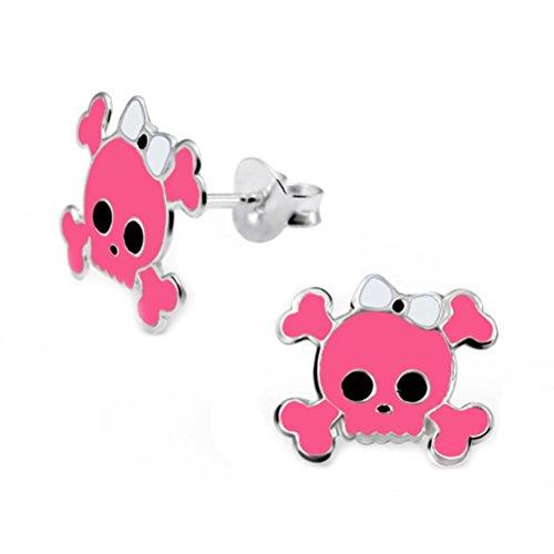Pink Skull Earrings Studs Monster Crossbones Halloween 925 Stering Silver (E15498)