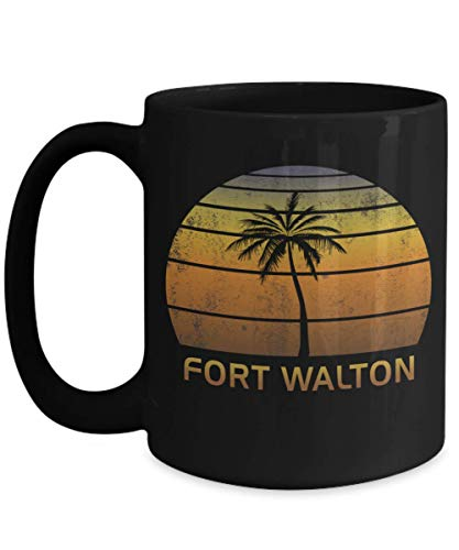 (Fort Walton Florida Souvenir Black 15oz Coffee Mug Vintage Tea Cup)