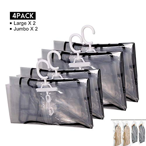 - Hanging Vacuum Storage Bags, FoolHome Space Saver Bags for Clothes, Duvets, Pillows & Travel Luggage, 4 Pack(2xJumbo, 2xLarge)