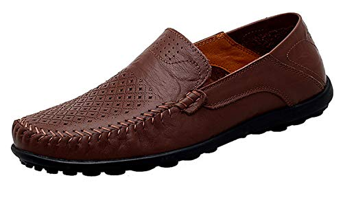 Go Tour Men's Premium Genuine Leather Casual Slip On Loafers Breathable Driving Shoes Fashion Slipper Dark Brown Punched 13/50