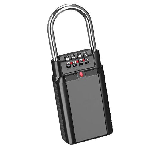 KeeKit Key Lock Box, 4-Digit Combination Lock Box, Weatherproof Key Storage Lock Box, Key Safe Box, Holds up to 6 Keys of House/Car/Padlock, Portable for Indoor/Outdoor