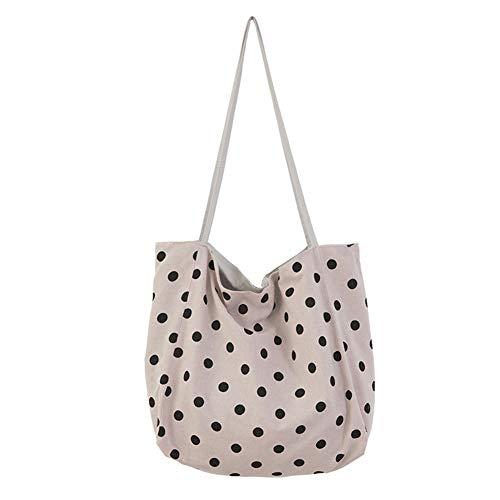 - Women Large Capacity Casual Handbag Tote Pouch Polka Dot Canvas Shoulder Bag Soft Beach Bag(Purple Powder)