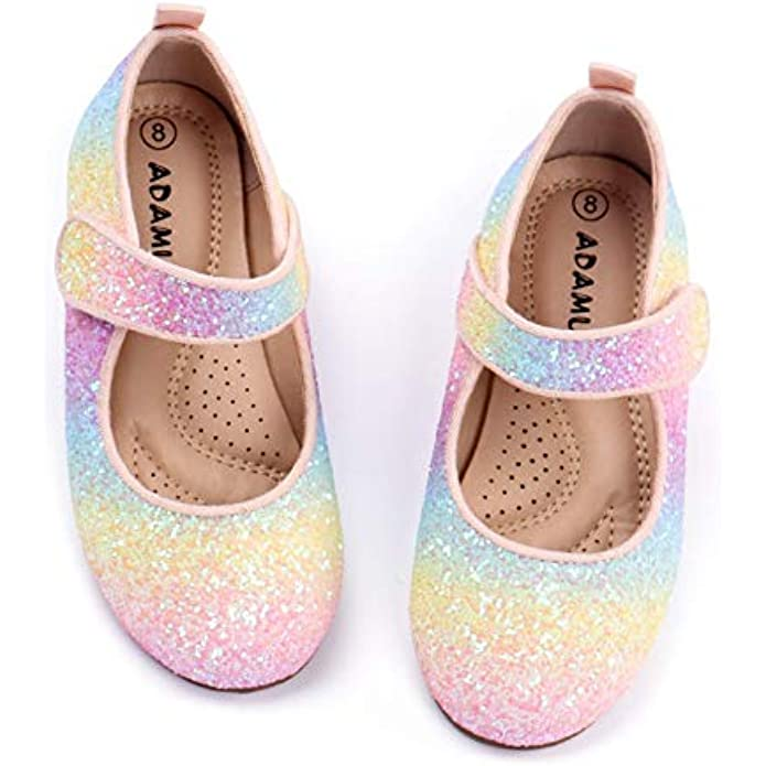 ADAMUMU Flower Girls Dress Shoes Toddler Ballerina Flats Mary Jane Slip on Shoes in Wedding Party Holiday Wearing