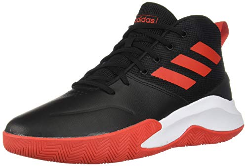 adidas Men's OwnTheGame Wide Basketball Shoe, Black/Active Red/White, 10 W US