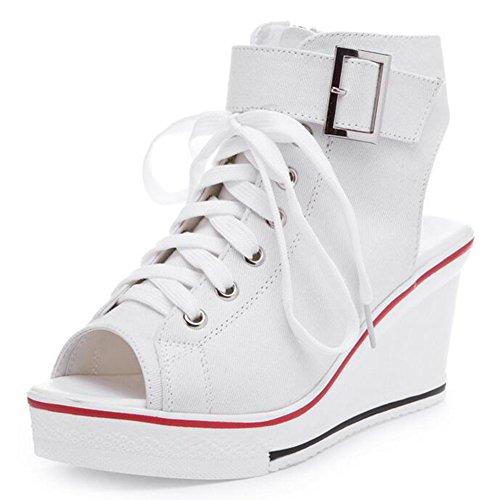 COVOYYAR Women's Peep Toe Wedge Sneakers Fashion Canvas Shoes High Pump (10, White) ()