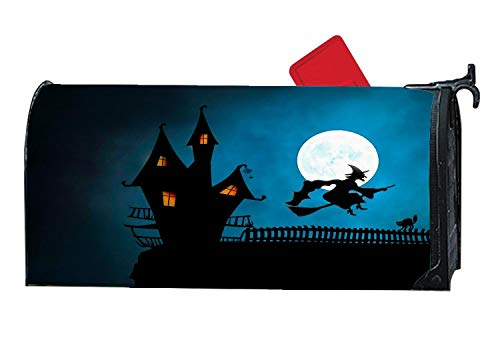 Halloween Witch's House Broomstick Cat Magnetic Mailbox Cover, Mail Wrap Mailbox Makeover Cover, Allweather-Proof Vinyl, Fits Standard 6.5
