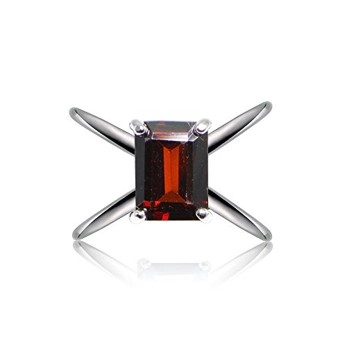 Octagon Cut Ring (Sterling Silver African Garnet Octagon-Cut Criss Cross Ring, Size 7)