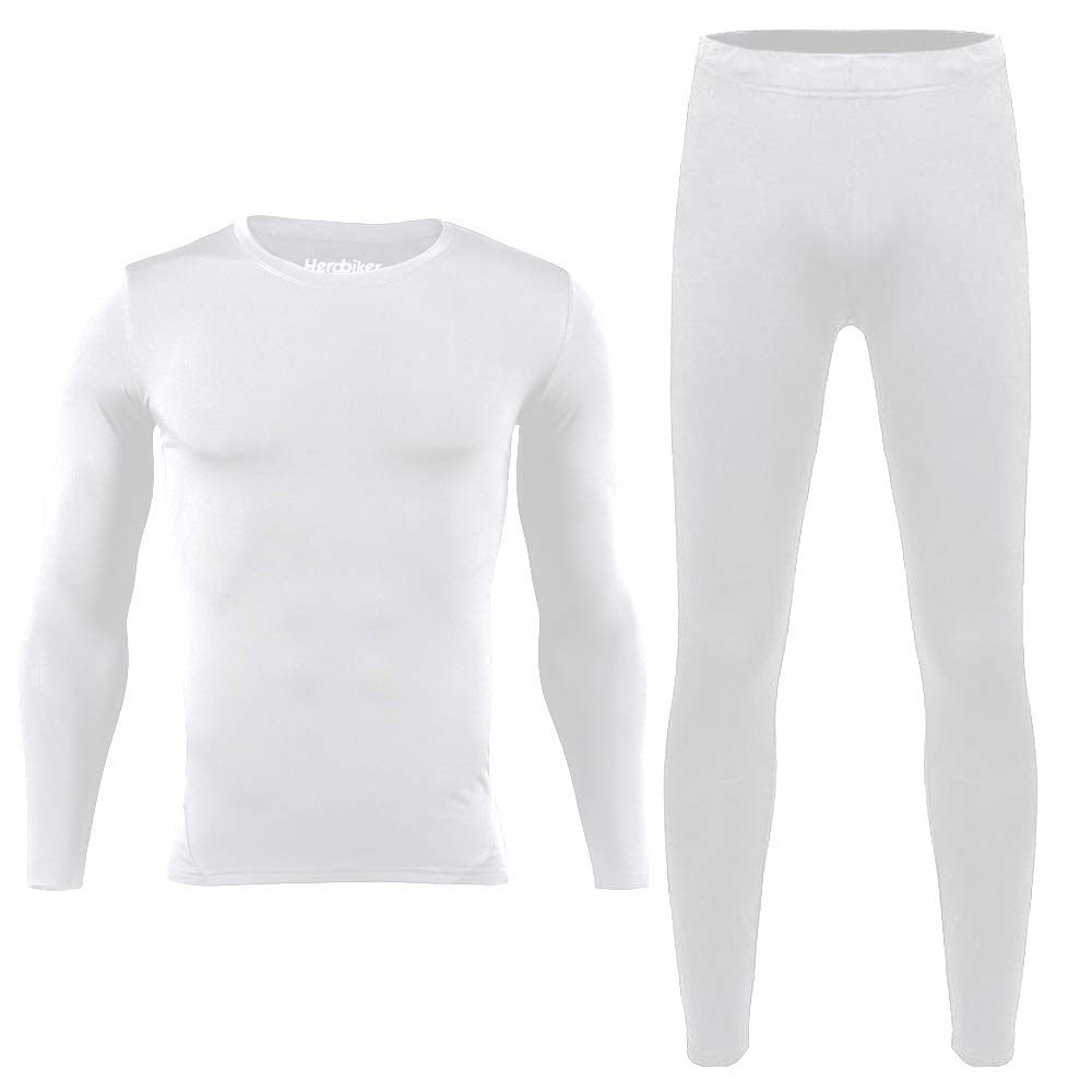 HEROBIKER Men Thermal Underwear Set Winter Skiing Warm Top & Bottom Thermal Long Johns Black (White, X-Large) by HEROBIKER
