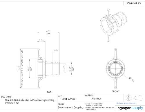 Dixon 4030-DA-AL Aluminum Cam and Groove Reducing Hose Fitting, 4'' Socket x 3'' Plug by Dixon Valve & Coupling (Image #1)