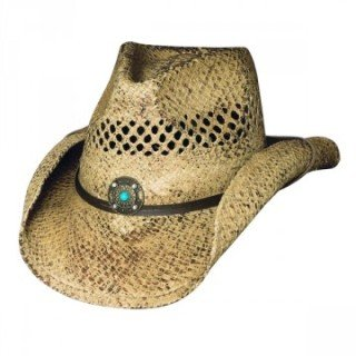Bullhide Montecarlo Anytime Vented Raffia Western Hat with Turquoise Bead Concho Small/Medium, Natural