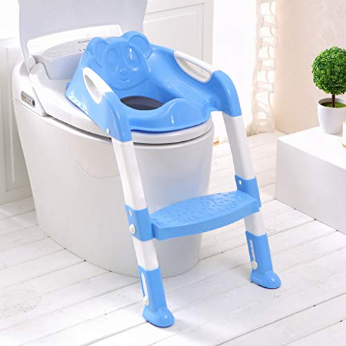 Baby Potty Toilet Training Seat by HP95, Folding Toddlers Bathroom Training Chair Cover for Toilet - Boys & Girls Toilet Training Seat Ladder with Wide Step (A, Blue) by HP95_Baby Supplies (Image #1)