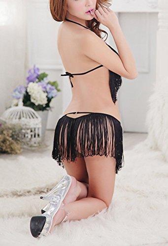 Paplan Mujer Franja de la borla del bikini Negro