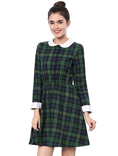 Allegra K Women's Contrast Peter Pan Collar Check Dress L Green