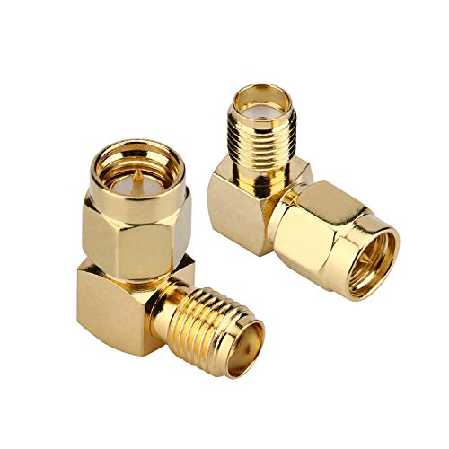 - 2PCS SMA Adapter Right Angle 90-Degree Gold Plated SMA Male to SMA Female Coaxial Coax Adapter for WiFi Antenna FPV Drone Extension Cable