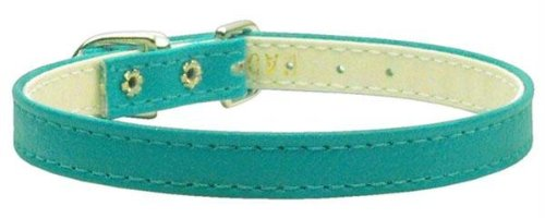 Mirage Pet Products 3/8-Inch Width Plain Collar for Pets, 12-Inch, Turquoise