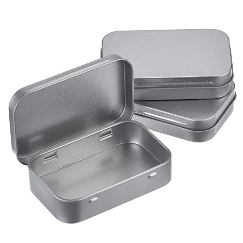 Shappy Silver Metal Rectangular Empty Hinged Tins Box Containers Basic Necessities Tins Mini Portable Box Small Storage Kit Card Tin Holders Box Set, Home Organizer, 3.75 by 2.45 by 0.8 (Metal Gift Box)