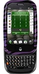 Amzer Snap On Crystal - Carcasa rígida con pinza de cinturón para Palm Pre, color violeta con diseño de cebra