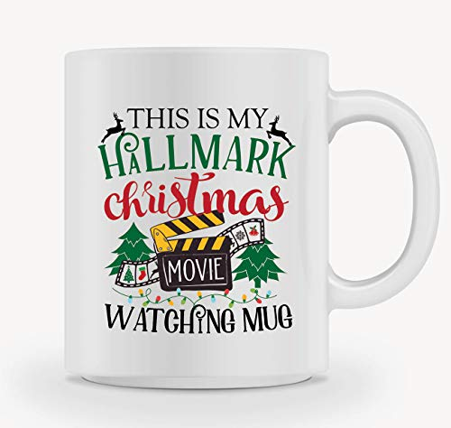 Christmas Coffee Mug - THIS IS MY HALLMARK CHRISTMAS MOVIE WATCHING MUG - Mug Gift in Blue Ribbon Box - 11 oz - Gifts for Family,Friends, Coworkers - Both Sides Printed -
