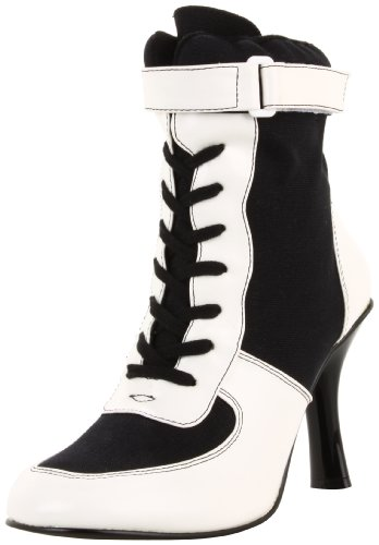 Harley Quinn Shoes (Funtasma by Pleaser Women's Referee-125/BW referee costume boots,Black Canvas,12 M US)
