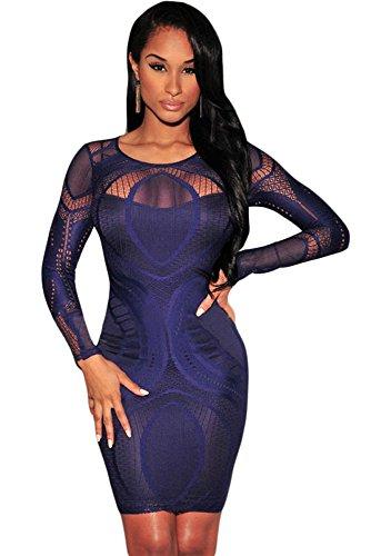 Bleu royal dentelle Nude Illusion robe Bodycon à manches longues Club Wear Taille L/12–14