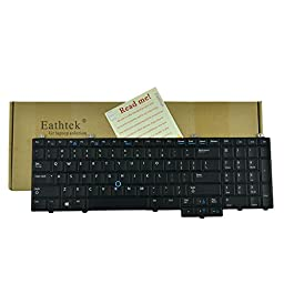 Eathtek Replacement Keyboard with Backlit and Pointer for Dell Latitude E5540 series Black US Layout, Compatible with part# 076X2J NSK-LE1BC PK130WR1B00