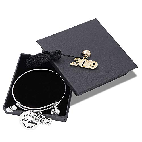M MOOHAM Inspirational Graduation Gifts Bracelet - 2019 Adustable Bracelet Inspirational Graduation Gifts Friendship Gifts Retirement Jewelry Gifts for Her Him with 2019 Graduation Cap]()