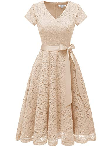 Cocktail Champagne Formal Sleeves Neck Dress Bridesmaid Dress Lace Floral V Gardenwed Women's Short Fgz77H