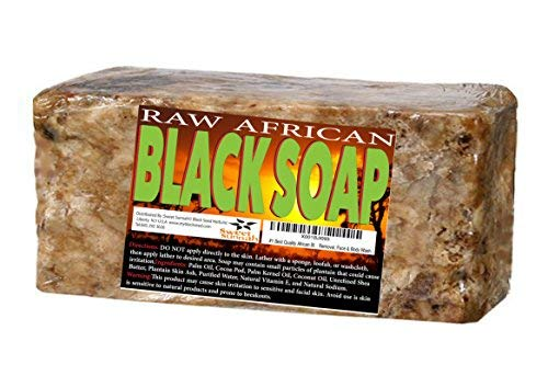 Premium African Black Soap - Pure 1 pound Bulk. Raw Organic Soap for Acne, Dry Skin, Rashes, Burns, Scar Removal, Face & Body Wash, From Ghana West Africa - Authentic African Soap Moisturizer