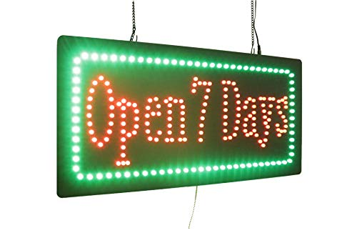 OPEN 7 Days Sign, Super Bright High Quality LED Open Sign, Store Sign, Business Sign, Window Sign, LED Neon - Days Led 7 Open