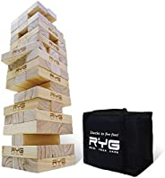 Raise Your Game Giant Wooden Tower, Large Tumbling Block Timbers , Wood Stacking Game Jumbo Backyard Set with