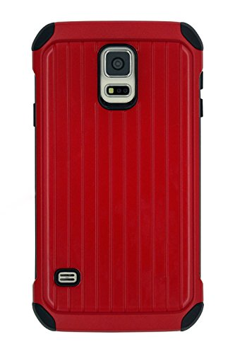 Galaxy S5 Case,Samsung Galaxy S5 case Defender Shockproof Drop proof High Impact Armor Plastic and Leather TPU Hybrid Rugged Case for Samsung Galaxy S 5 - Red