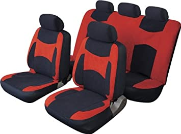 Strange Mg Zr Escape Full Car Seat Cover Set In Red Black Amazon Machost Co Dining Chair Design Ideas Machostcouk