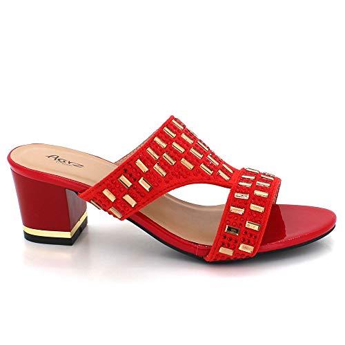 Bloc Dames Rouge Soir Glisser Chaussures De Des Décontractée Sur Diamante Fête Sandales Taille Femmes Décoré Talon 1dvSqTwvn