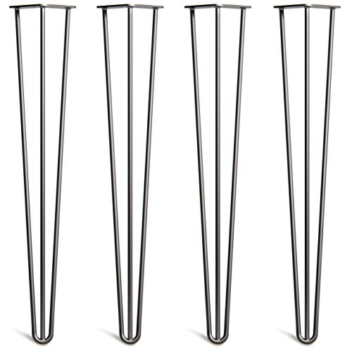 4 x Hairpin Table Legs - Superior Double Weld Steel Construction with Free Screws, Build Guide & Protector Feet, Worth $10! - Mid-Century Modern Style - 4