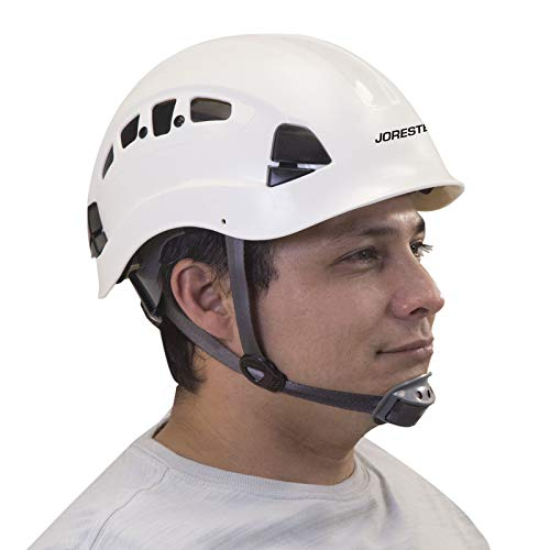 PPE By JORESTECH - ABS Work-At-Height and Rescue Hard Hat Slotted Ventilated Helmet w/Adjustable Ratchet 6-Point Suspension ANSI Z89.1-14 (White)