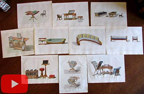 Ackermann furniture sofas tables color aquatints c.1808-1812 lot of 10