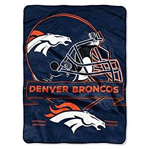 NFL Licensed Denver Broncos Prestige Royal Plush Raschel Fleece Throw Blanket 60