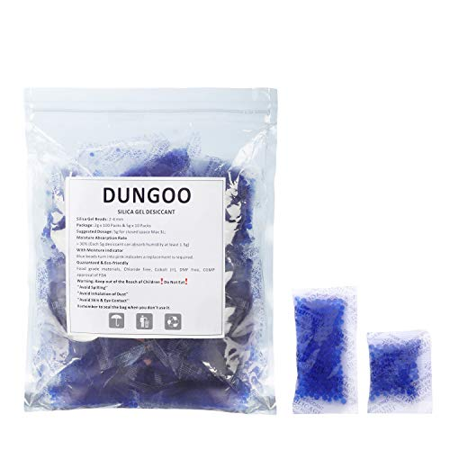 Silica Gel Packets 2g 100 Packs & 5g 10 Packs Desiccant Dehumidifiers Blue Indicating (Blue to Pink) Moisture Absorber for Closet Tools Storage Gun Safes