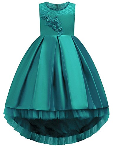 Big Dresses for Girls Size 7-16 for Wedding Formal Tulle Ball Gown Party Prom Princess Pageant Elegant Bridesmaid Dresses Girls 14-16 15 Years Age of 14 Teen Girl Children Gowns ( Green 170 ) by KISSOURBABY