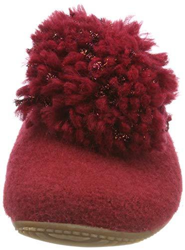 Mujer Mit Pantoffel Casa Para Kitzbühel Zapatillas Estar rubin Rot Wollbommel Por De 389 Living wfqaFvETF
